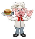 Cartoon Pig Chef Holding Burger Stock Images
