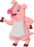 Cartoon pig chef waving Royalty Free Stock Photo