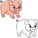 Cartoon pig. Coloring book Royalty Free Stock Images