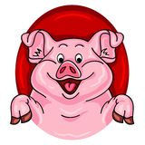 Cartoon pig coming out of a red hole royalty free illustration