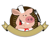Cartoon Pig Cook Banner. Illustration of a funny cartoon pig cook for restaurant sign or banner, bucher advertisement Stock Photos