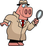 Cartoon Pig Detective Royalty Free Stock Image