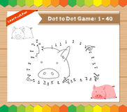 Cartoon Pig. Dot to dot educational game for kids Stock Photo