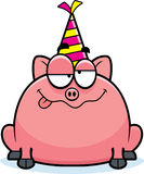 Cartoon Pig Drunk Party Stock Photo