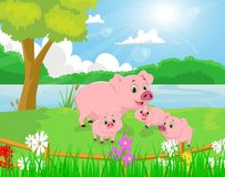 Cartoon pig family on the river bank Royalty Free Stock Images