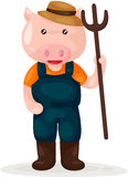 Cartoon pig farmer Royalty Free Stock Photo