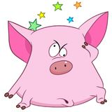 Cartoon pig feeling dizzy. Colorful book page design for kids and children Stock Photography