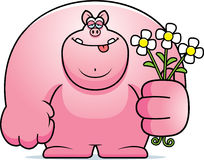 Cartoon Pig Flowers Royalty Free Stock Photos