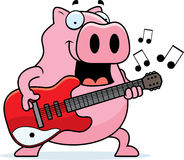 Cartoon Pig Guitar Stock Photography