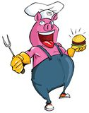 Cartoon pig habing a BBQ Stock Photos