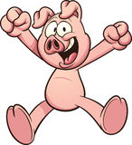 Cartoon pig. Happy cartoon pig. Vector clip art illustration with simple gradients. All in a single layer Royalty Free Stock Image