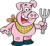 Cartoon pig holding a fork Royalty Free Stock Photos