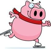 Cartoon Pig Ice Skating Royalty Free Stock Photo