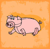 Cartoon pig illustration, vector icon hand drawn Royalty Free Stock Photography