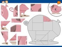 Cartoon pig jigsaw puzzle task vector illustration