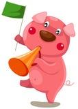 Cartoon pig with loundspeaker Stock Photos