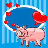 Cartoon pig love card. Cute and fun hand drawn cartoon pig holding a heart ballon with room for your text in billboard, great for love or Valentine's day card Royalty Free Stock Images