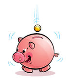 Pig money-box. A cartoon pig money-box shaking happily while coins dropping in Royalty Free Stock Images