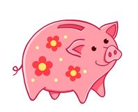 Cartoon pig moneybox with flowers stock photo