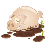Cartoon Pig in the Mud Smiling. Cartoon pig playing in a mud puddle and smiling Stock Images