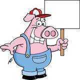 Cartoon pig in overhauls holding a sign Stock Image