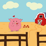 Cartoon pig, pig, farm. The adventures of cartoon pig on a farm royalty free illustration