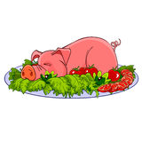 Cartoon pig on a plate with vegetables. Cartoon roast suckling pig on a plate with vegetables Stock Photos