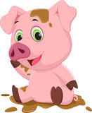 Cartoon pig play in mud. Vector  illustration of Cartoon pig play in mud   on white Royalty Free Stock Photo