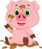 Cartoon pig play in mud Royalty Free Stock Photo
