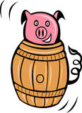 Cartoon pig pork barrel Stock Photography