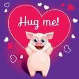 Cartoon pig ready for a hugging. Funny animal. Cute cartoon pet on white background. Vector illustration with hand lettering phrase Hug me Royalty Free Stock Photo