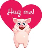 Cartoon pig ready for a hugging. Funny animal. Cute cartoon pet on white background. Vector illustration with hand lettering phrase Hug me Stock Photography