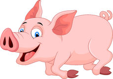 Cartoon pig running Stock Photos