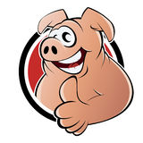 Cartoon pig sign. Cartoon illustration of pig sign or button; isolated on white background Stock Images