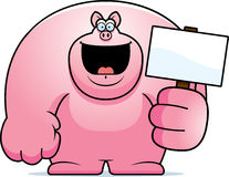 Cartoon Pig Sign Stock Photo