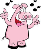 Cartoon pig singing Royalty Free Stock Photos