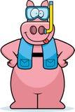 Cartoon Pig Snorkeling Stock Photos