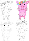 Cartoon pig. Vector illustration. Dot to dot game for kids Stock Images