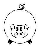 Cartoon pig vector symbol icon design. Cute animal illustration isolated on white background Stock Photo