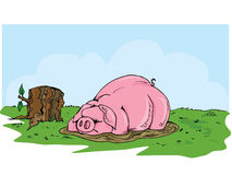 Cartoon pig wallowing in the mud. Grass and blue skies behind Royalty Free Stock Photos