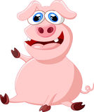 Cartoon pig waving hand Stock Image