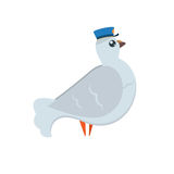 Cartoon pigeon post with blue postman`s hat with open wings in fly Royalty Free Stock Photo