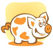 Cartoon piggy. Cartoon happy piggy isolated on a yellow background Stock Images