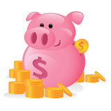 Cartoon Piggy Bank. Unique cartoon illustration of a piggy bank with dollar coins Stock Photography