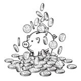 Cartoon piggy bank among falling coins on big pile of money. 2019 Chinese New Yea symbol. Black and white sketch. Hand