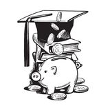 Cartoon piggy bank with graduation hat, falling money, stack of books. Saving plan for education, student loan, financial aid concept. Hand drawn sketch vector Royalty Free Stock Images