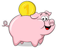 Cartoon piggy bank Stock Image