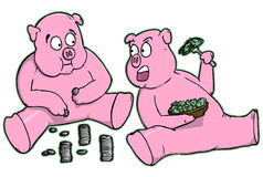 Cartoon Piggy Banks Eating Money Royalty Free Stock Images