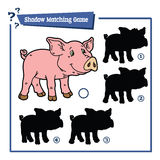 Cartoon piggy game. Vector illustration of shadow matching game with happy cartoon piggy for children Stock Photo
