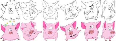 Cartoon pigs set. Cartoon animals set. Collection of six funny pink pigs with different emotions. Coloring book pages for kids Royalty Free Stock Photography